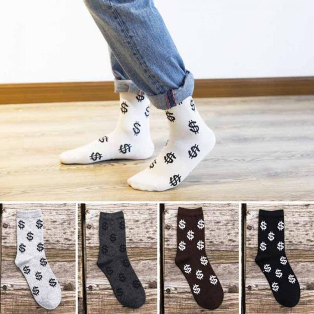 Fashion Spring Autumn Socks Men Dollar Symbol Printed Comfortable Breathable Anti-slip Man Middle Long Sock Calcetines Hombre
