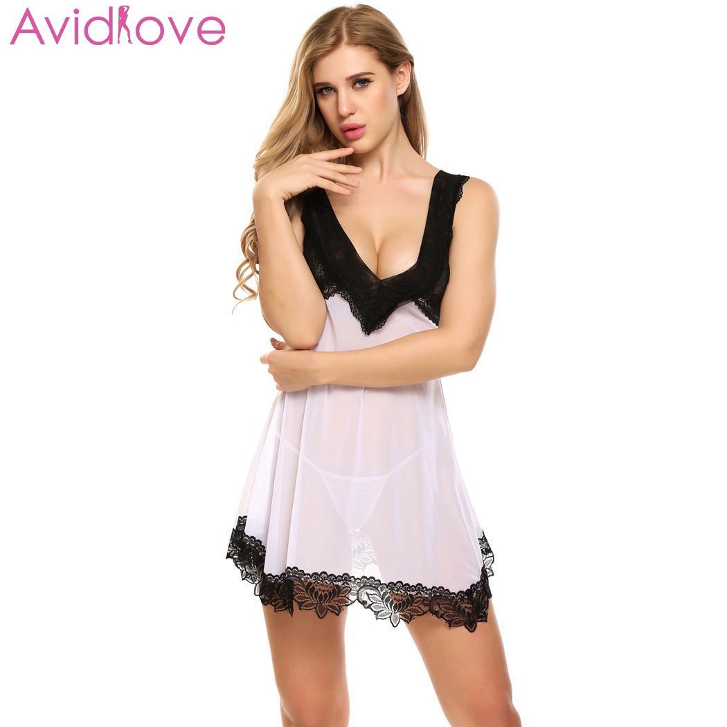 4baed3753895 Avidlove lencería Sexy ropa de dormir erótica Mujer Transparente Babydoll  encaje Noche de dormir ropa de