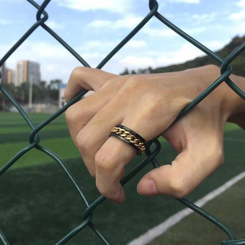 Vnox 8 мм прядильная цепь кольца для мужчин и женщин стильные вращающиеся звенья черные повседневные из нержавеющей стали мужские ювелирные изделия снимают стресс Анель