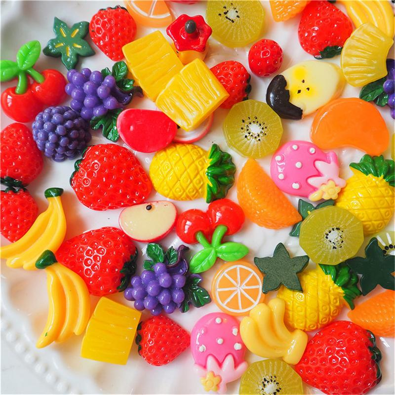 30 Pieces Fruit Stickers Slime Charms Mixed Fruit Series Beads Slime Bead Making Supplies For Diy Collage Crafts Model Building