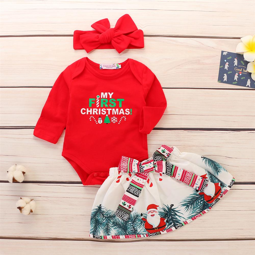 Baby Christmas Clothing Set Rompers Skirts Headband 3pcs Newborn Suits Cotton Santa Claus Long Sleeve Baby Girls Clothes sr039 newborn baby clothes bebe baby girls and boys clothes christmas red and white party dress hat santa claus hat sliders