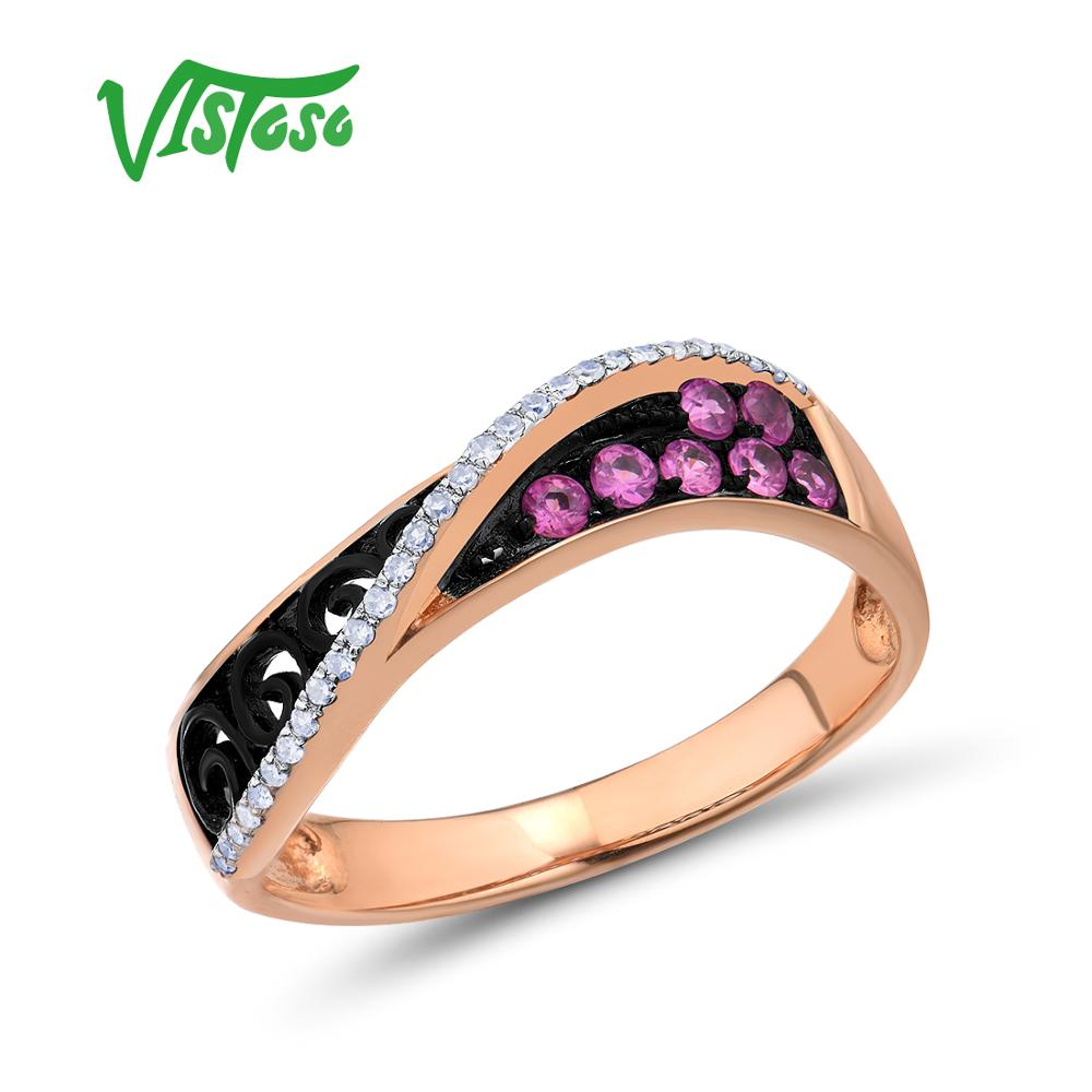 Vistoso 여성을위한 골드 링 정품 14 k 585 로즈 골드 링 스파클링 다이아몬드 핑크 사파이어 할로우 라임 라인 트렌디 파인 쥬얼리-에서반지부터 쥬얼리 및 액세서리 의  그룹 1