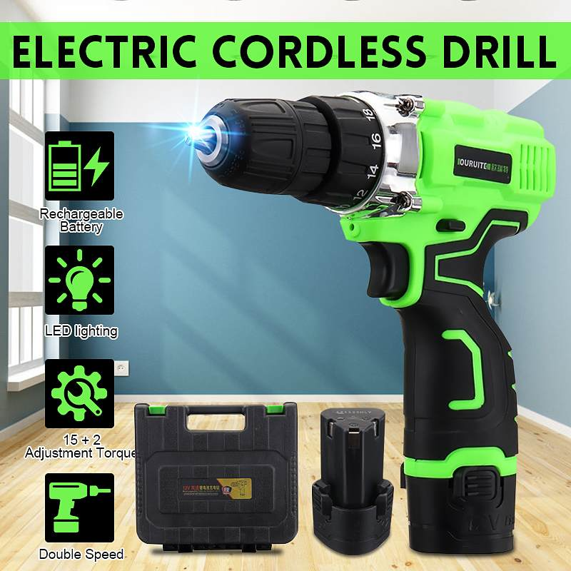 Electric Screwdriver Cordless Drill Wireless Power Driver 12-Volt DC Lithium-Ion 1/2 X Battery 2-Speed with suitcaseElectric Screwdriver Cordless Drill Wireless Power Driver 12-Volt DC Lithium-Ion 1/2 X Battery 2-Speed with suitcase
