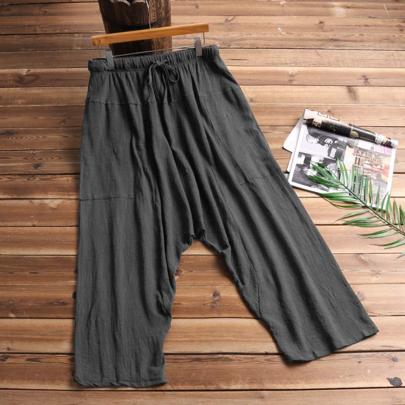 2019 Vintage Women Men Harem Pants Loose Drop Crotch Elastic Waist Trousers Hip-hop Retro Men Joggers Male Ladies Pants S-5XL
