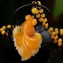 Натуральный цвет нефритовый кулон оранжевый жадеит Carven Золотая рыбка амулет счастливое ожерелье
