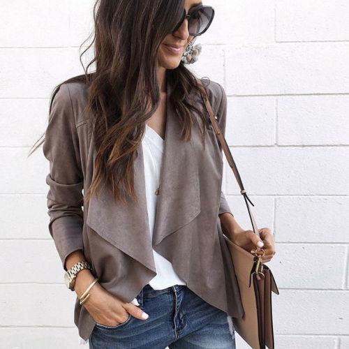 Женские повседневные куртки с длинным рукавом, осенние свободные замшевые куртки