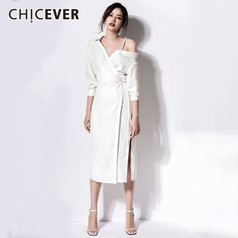 CHICEVER Sexy Irregular Sling Pearl Off Shoulder Women Dress V Neck Half Sleeve High Waist Slim