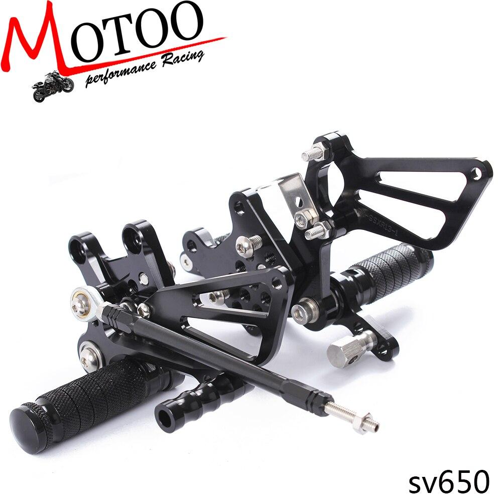 Plein CNC En Aluminium Moto Commandes Reculées Réglables Arrière Met le Pied Peg Pour Suzuki SV650 SV650S SV1000 SV1000S SV 650 1000 98 -14