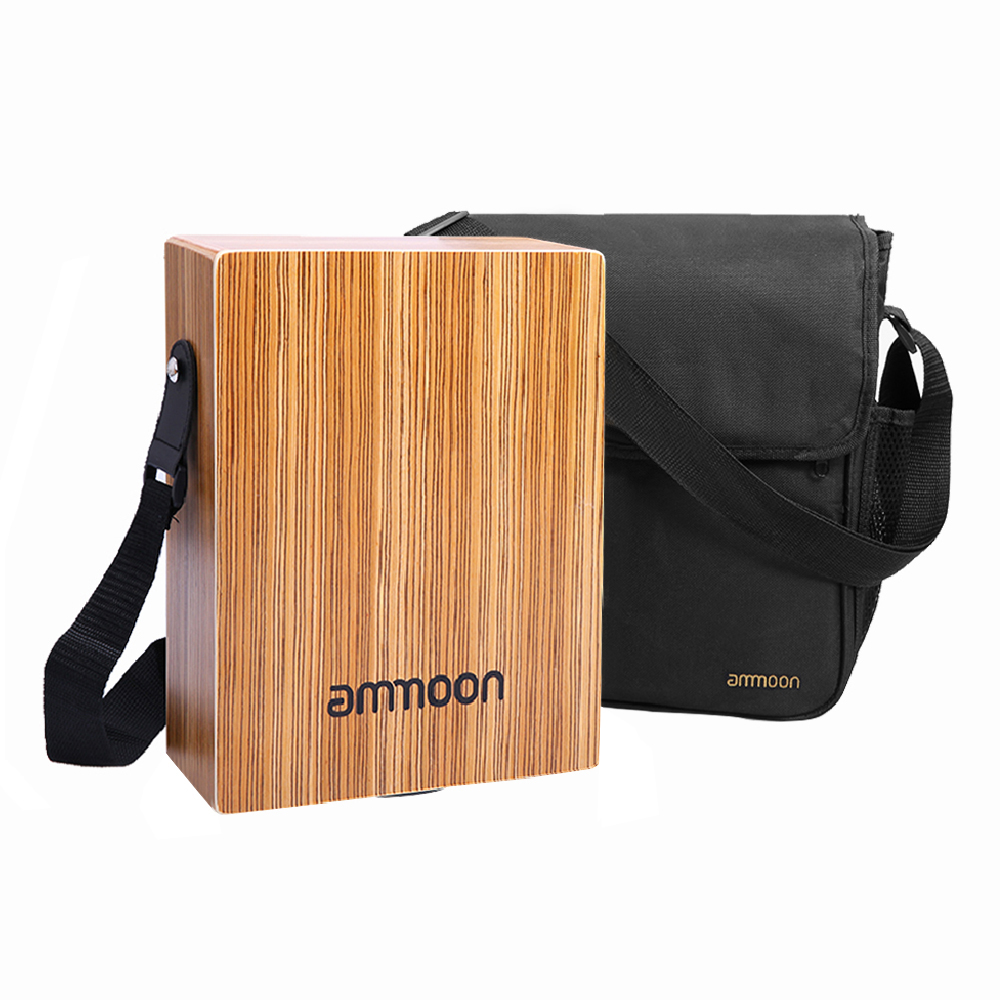 ammoon Traveling Cajon Box Portable Drum Flat Hand Drum Wooded Percussion Instrument with Strap Carry Bag