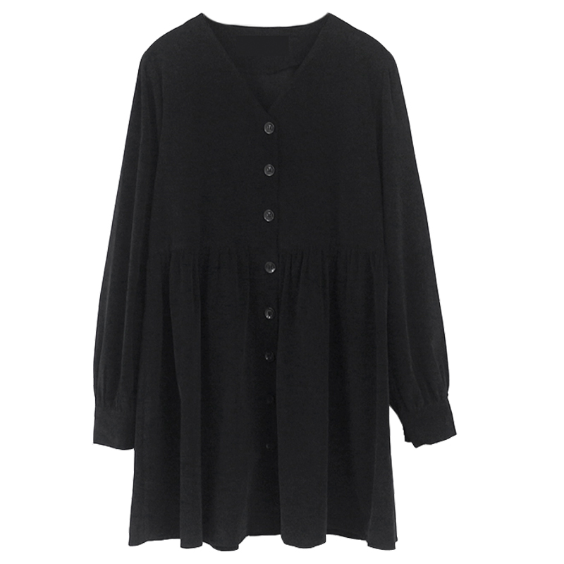 Image 5 - Cute Sweet Dresses Hot Sales Women Fashion Long Sleeve V Neck Vintage Preppy Style Girls Casual Loose Mini Button Shirt Dress-in Dresses from Women's Clothing