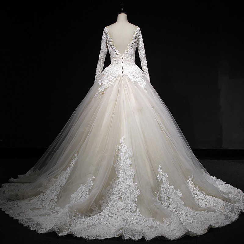 Vivian's Bridal 2018, кружевное бальное платье с аппликацией, свадебное платье, сексуальное, глубокое иллюзионное, Сетчатое, с открытой спиной, с длинными рукавами, свадебное платье, пошитое по индивидуальному заказу