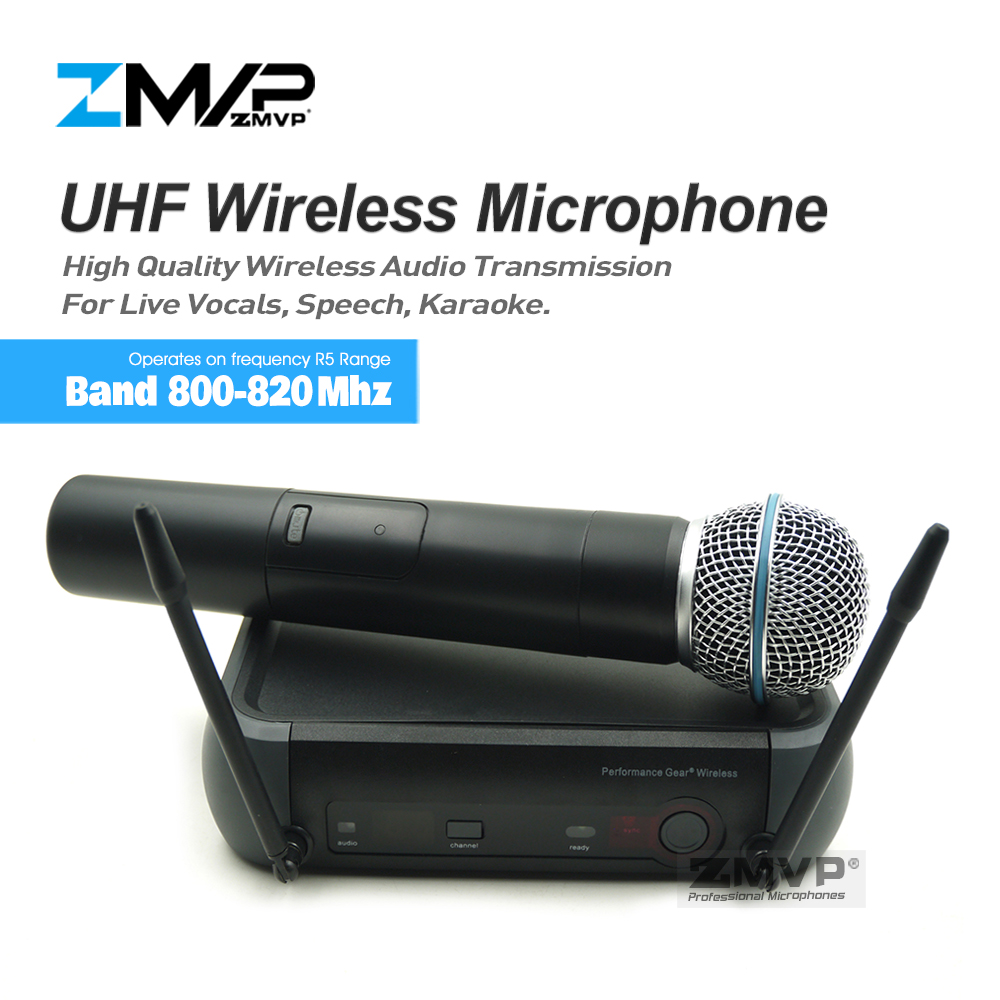 ZMVP PGX24 Professional PGX UHF Karaoke Wireless Microphone System With BETA58 Super Cardioid Handheld Transmitter Microfono zmvp p24 m58 uhf professional wireless microphone system with m58 handheld transmitter mic for stage live vocals karaoke speech