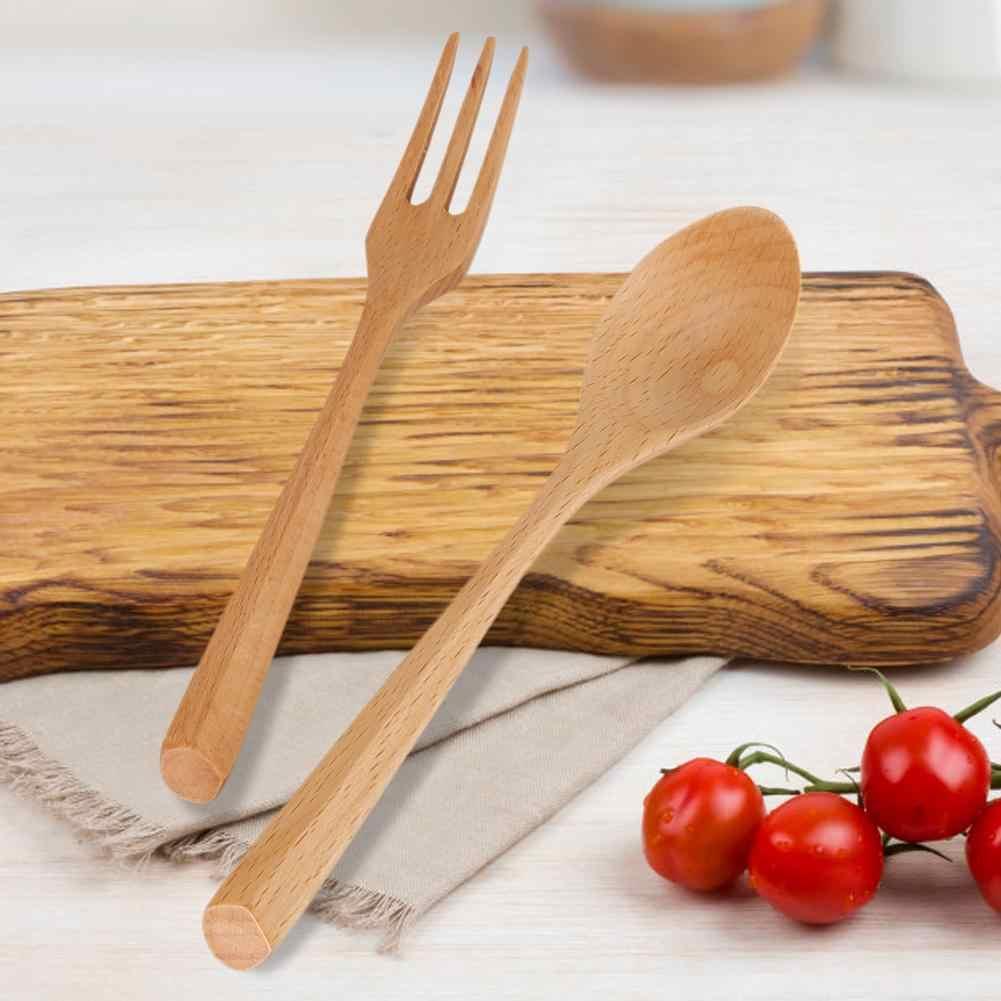 Colher e Garfo Conjunto de Talheres de Sobremesa De Madeira Natural para Utensílio De Cozinha peças Caixa de Almoço Portátil