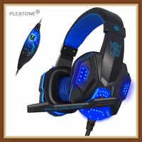 2019 auriculares Subwoofer estéreo bajo plextona PC780 juego Auriculares auriculares con micrófono luz USB para ordenador jugador Fone De Ouvido