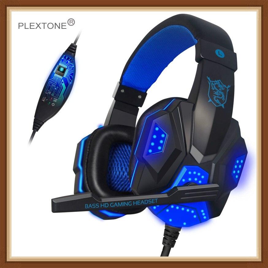 2019 Fone de Ouvido Estéreo Subwoofer Bass PLEXTONE PC780 Jogo Earbud Fone de Ouvido Fone De Ouvido com Microfone USB Luz para PC Gamer Fone De ouvido
