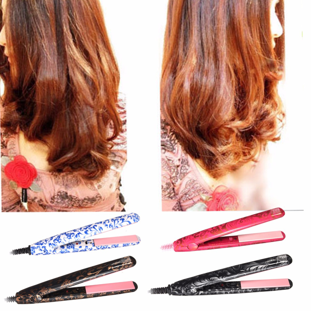 Portable Ceramic Hair Dryer Curlers Blow Straightener Waver Flat Iron Styler Products Professional Hairstyling Care Appliance