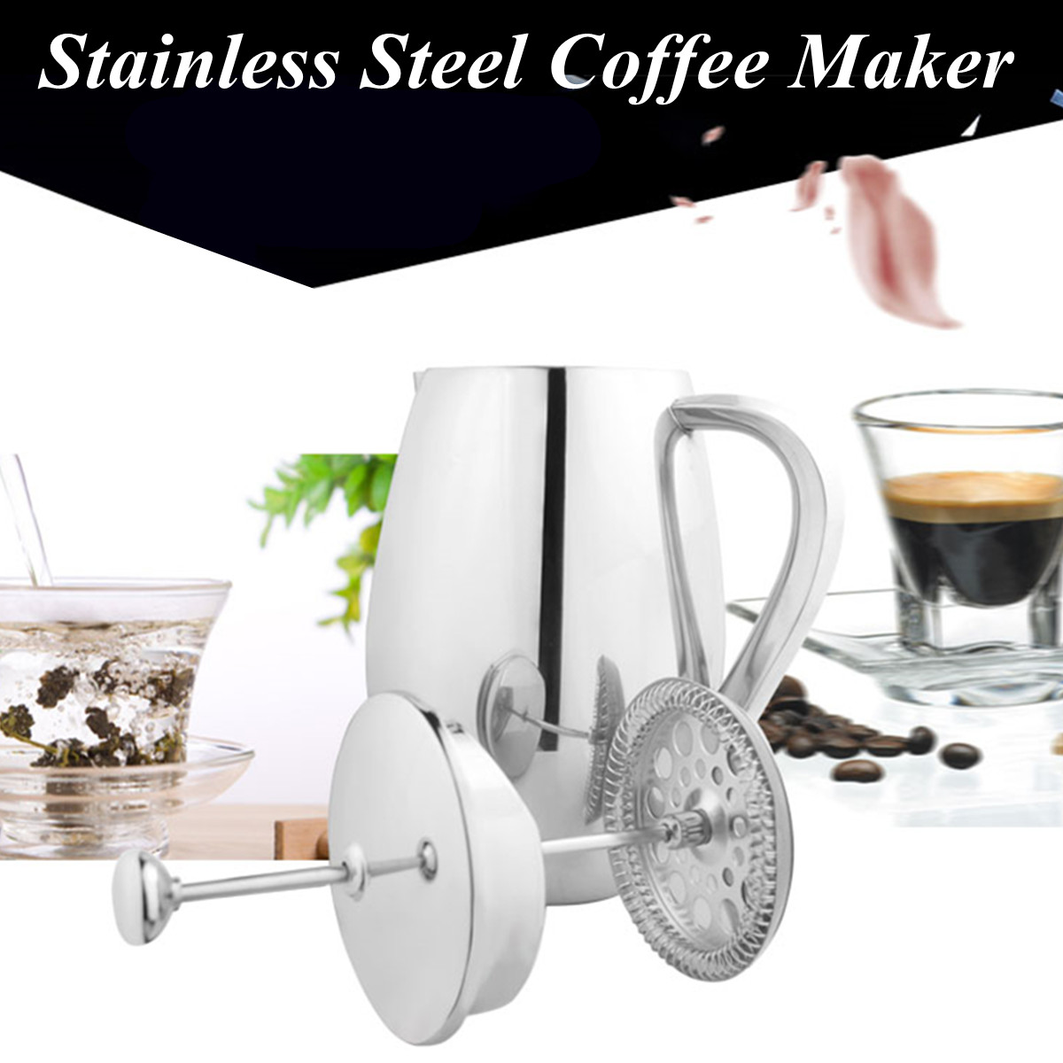 Coffee Maker French Press Cafetiere Stainless Steel Double Wall Plunger Filter Triple Filter Removable Cleaning Replaced Filter
