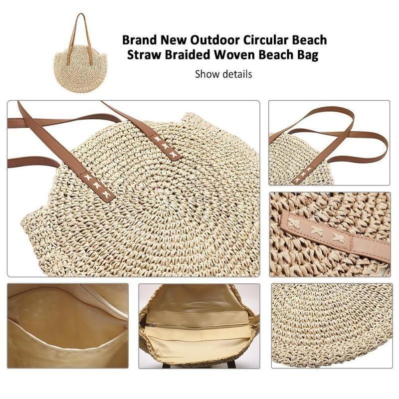 23976d3a1b3a Round Straw Shoulder Bag Women Hand-Woven Rattan Summer Beach Bag Woman's  Bohemian Handbag Travel Shopping Tote for Female