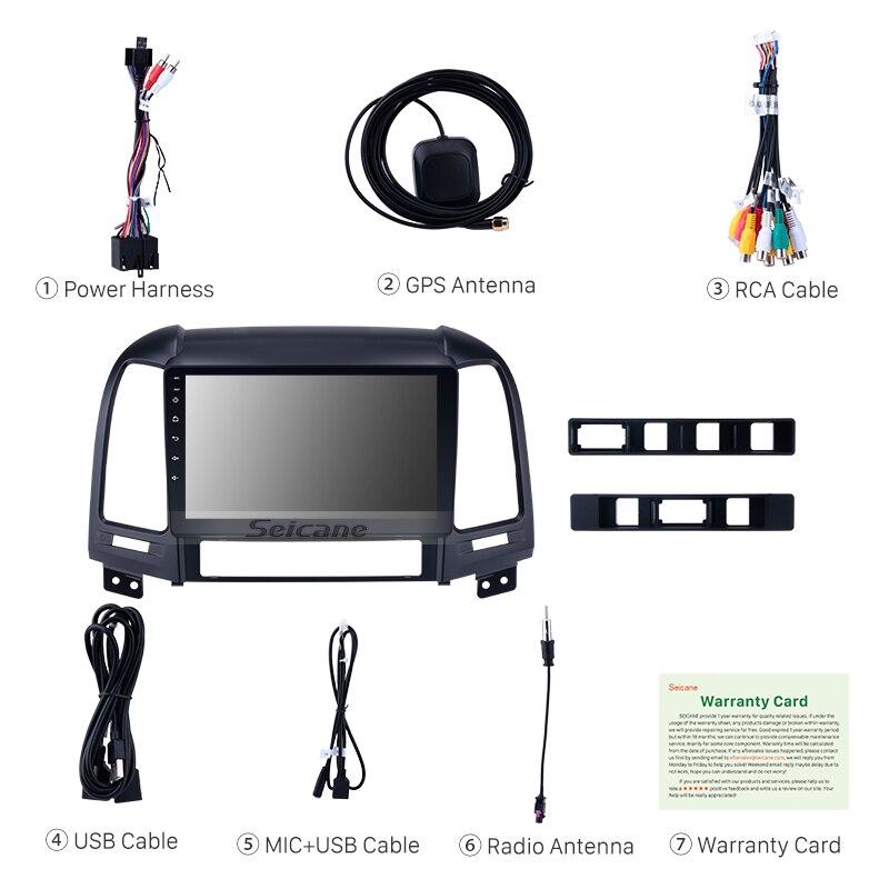 Seicane 1Din 4G + 32G Android 8.1/8.0 9 pouces Autoradio Pour Hyundai SANTA FE 2006 2007 2008 2009 2010 2011 2012 GPS Unité de Tête - 4