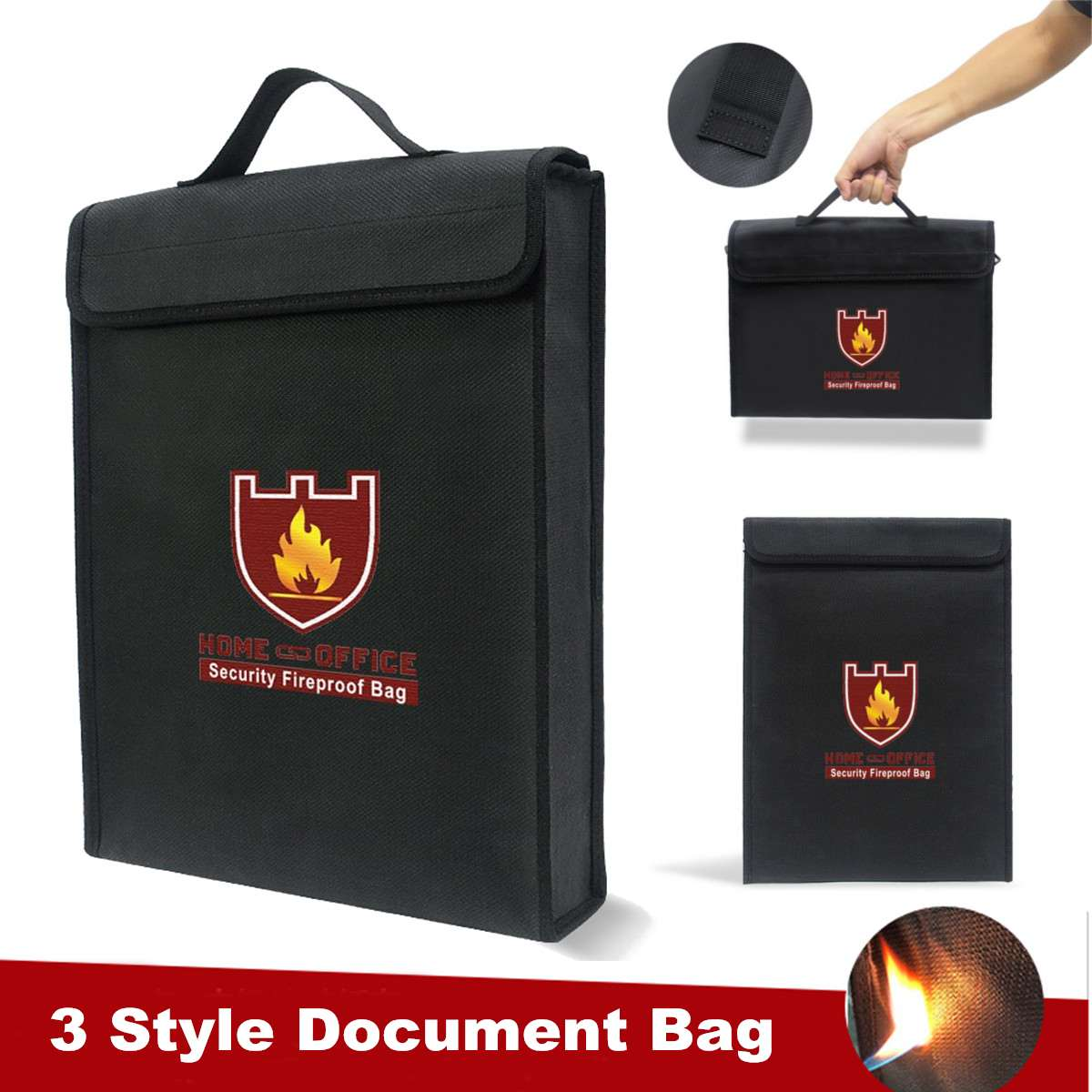 Waterproof Fireproof Document Bag Protection Cash Money File Passport Pouch Briefcase Envelope Home Office Supplies 3 Sizes