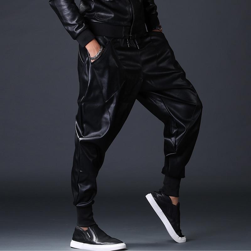 Joggeurs Crayon Hiver Hop Moto De Homme Pu Noir Stretch 2252 Pantalon Cuir Hommes Harem Automne Hip Faux Danse az1w1q
