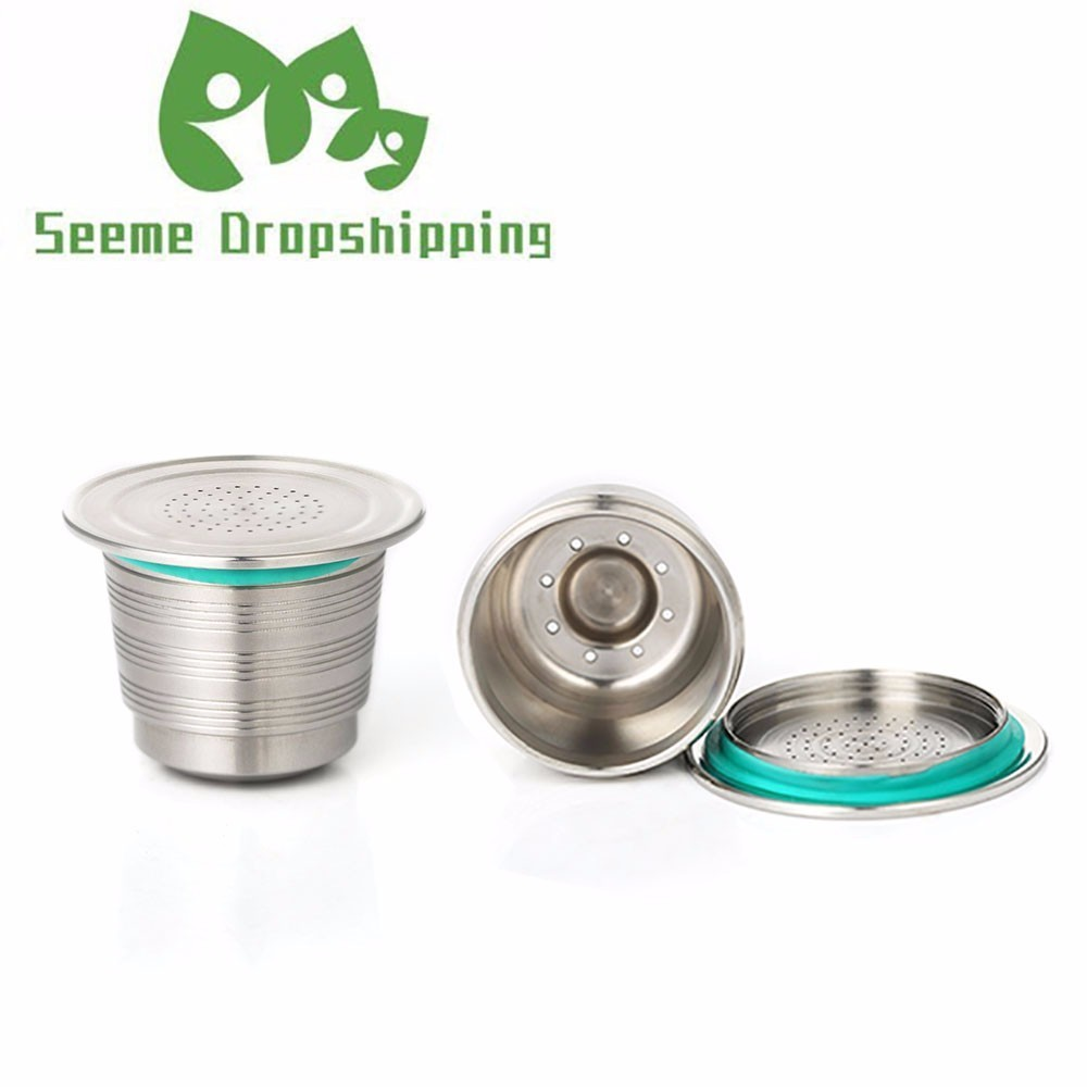 New Nespresso Refillable Upgrade Round Hole Reusable Cafe Dripper Stainless Steel Empty Capsule Metal Reusable Coffee Filter Cup