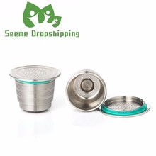 New Nespresso Refillable Upgrade Round Hole Reusable Cafe Dripper Stainless Steel Empty Capsule Metal Coffee Filter Cup