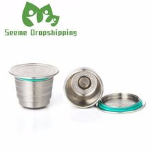 New Nespresso Refillable Upgrade Round Hole Reusable Cafe Dripper Stainless Steel Empty Capsule Metal Reusable Coffee Filter Cup(China)