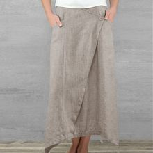 Summer Vintage Women Pockets Linen Maxi Skirts Casual High Waist Asymmetrical Cotton Skirt Loose Plus Size Pleated Beach Skirt plus size pleated side slit asymmetrical skirt