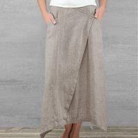 a689f0e0ab Verano Vintage mujeres bolsillos de lino faldas Maxi cintura alta falda  algodón suelta más tamaño plisado playa. Summer Vintage Women Pockets Linen  Maxi ...