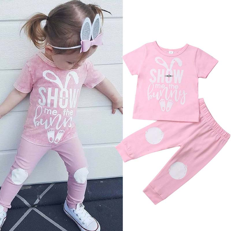 SNOWSONG Newborn Baby Girls Clothing Set Short Sleeve Rabbit Romper Accessories Long Pant Summer Outfits 2Pcs