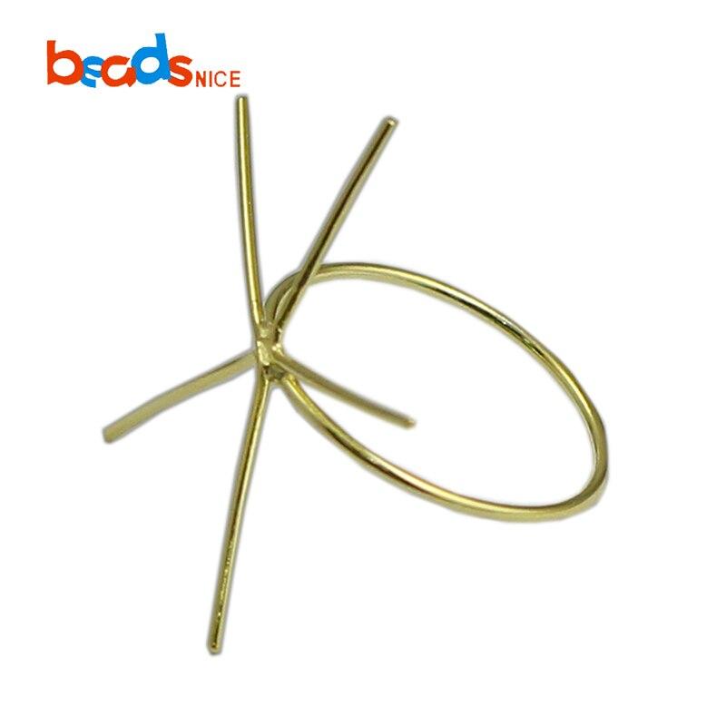 Beadsnice ID39494smt2 1 pc/lot anneau rempli d'or facile à monter anneau de bande d'or bijoux à bricoler soi-même anneau de griffe blanc