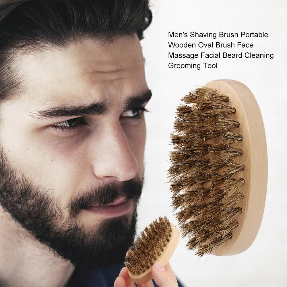 7.8cm Men Boar Hair Bristle Beard Brush Shaving Comb Face Massage Handmade Yellow Mustache Brush Beauty Care Drop Shipping
