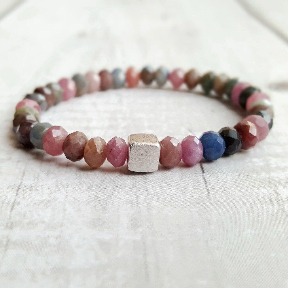 LiiJi Real Rubys saphirs 925 Bracelet en argent Sterling Cube étincelant bijoux délicats pour hommes ou femmes beau cadeau