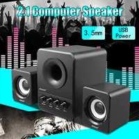 Desktop Computer Speaker Mini Multimedia 2.1 Heavy Bass Subwoofer USB 3.5mm 3W Stereo Sound Surrounding FOR PC Laptop DVD TV