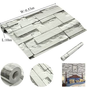 Image 5 - Light Gray 3D Wall Stickers Brick Pattern Textured Non woven Wallpaper Sticker TV Background Room Home Bedroom Decor  0.53*10m