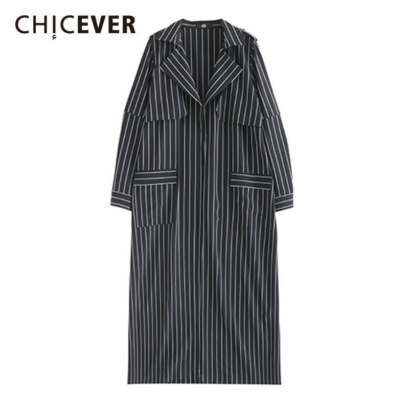 CHICEVER Vintage Striped   Trench   Coat For Women Windbreaker 2018 Spring Loose Big Size Overcoat Casual Coats Clothes Fashion New