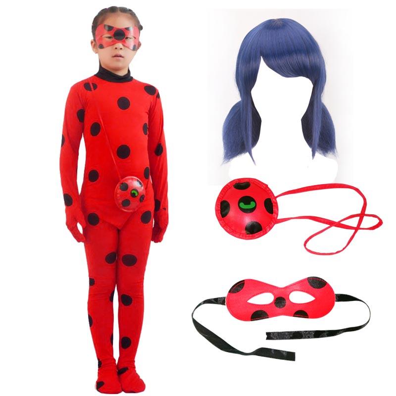 Adult Kids Lady Bug Halloween Party Costumes Girls Wig Bag Eye Mask Spandex Zantail Ladybug Costume Cosplay