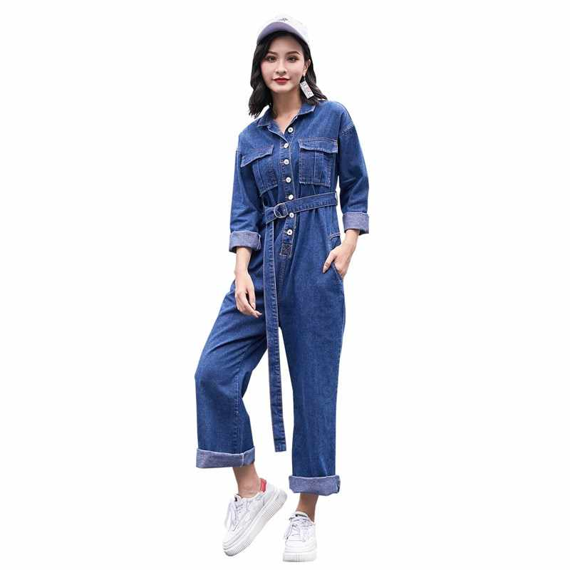 f171935425 Autumn Women Long Sleeve Sashes Denim Overalls Loose With Belt Fashion Turn  Down Collar Jumpsuits Long