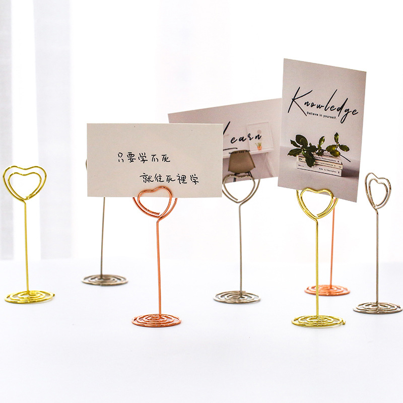 Desk Notes Folder Kawaii Heart Shape Clips Table Photo Memo Number Name Clips  Wedding Favors Place Card Holder Message Clips