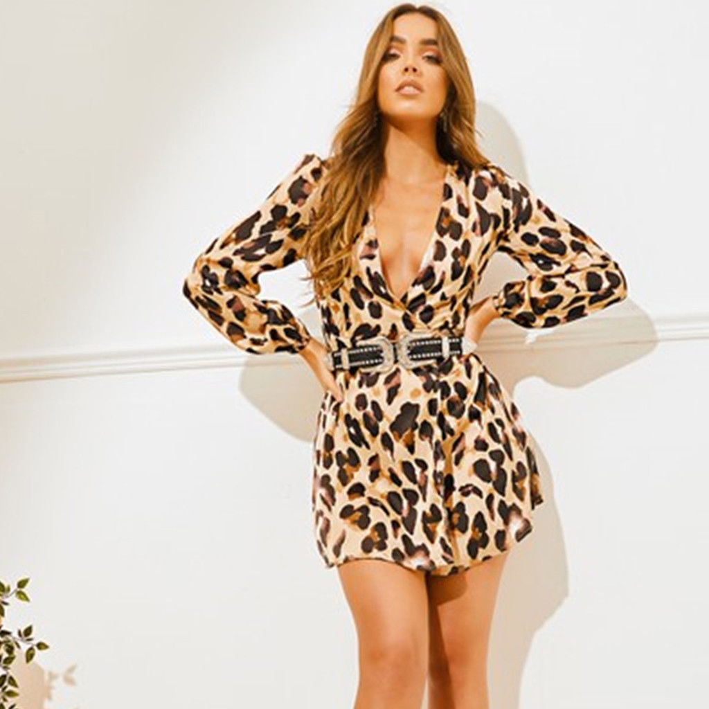 Women's Clothing Womens Long Sleeve Leopard Print Wrap Front Cross V-neck Waist Tie Mini Dress Hot