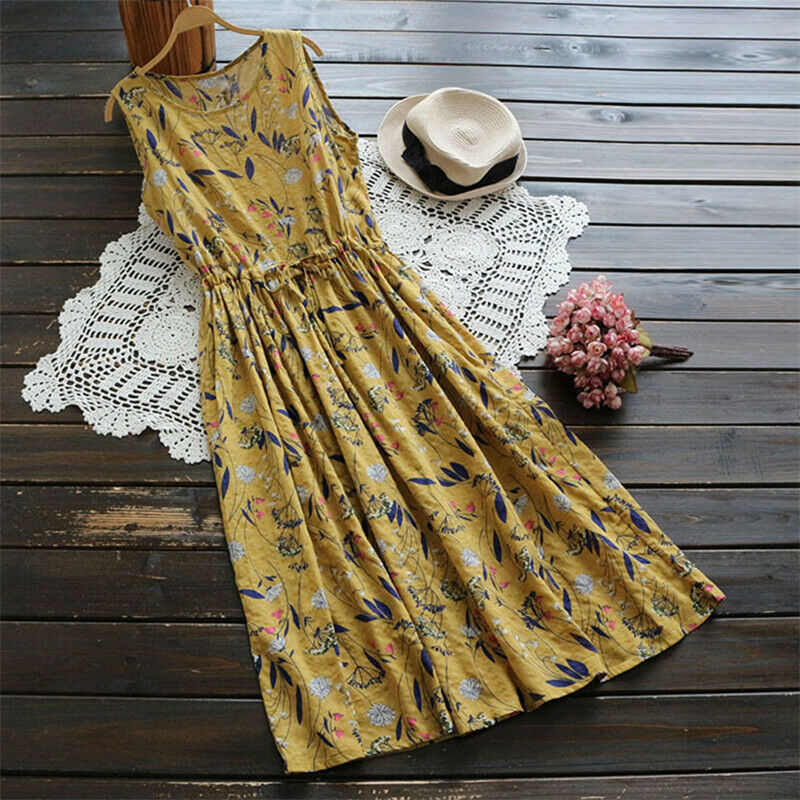 Harajuku Women's Dress Floral Printed Sleeveless Dresses Ladies Long Mid Dress Sundress Boho Holiday Casual Dresses Plus Size