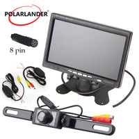 7 Inch TFT LCD Color Display Screen Car Monitor Parking HDMI + 7led rearview camera +wireless receiver transmitter