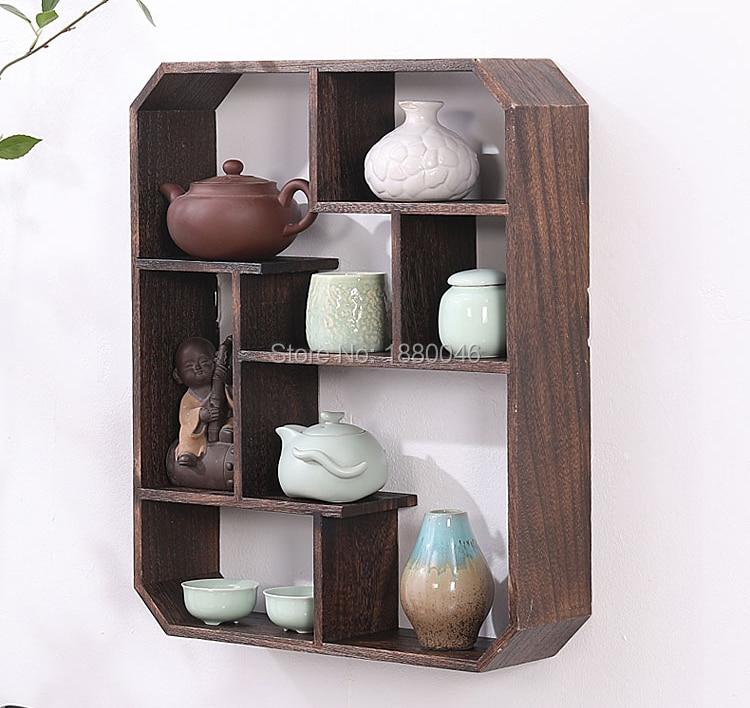 Free shipping47x39cm Burnt Paulownia Wood teapot shelf wood rack Trays Tea Saucer Chinese teacup collection Crafts display tray wall shelf for tea pots