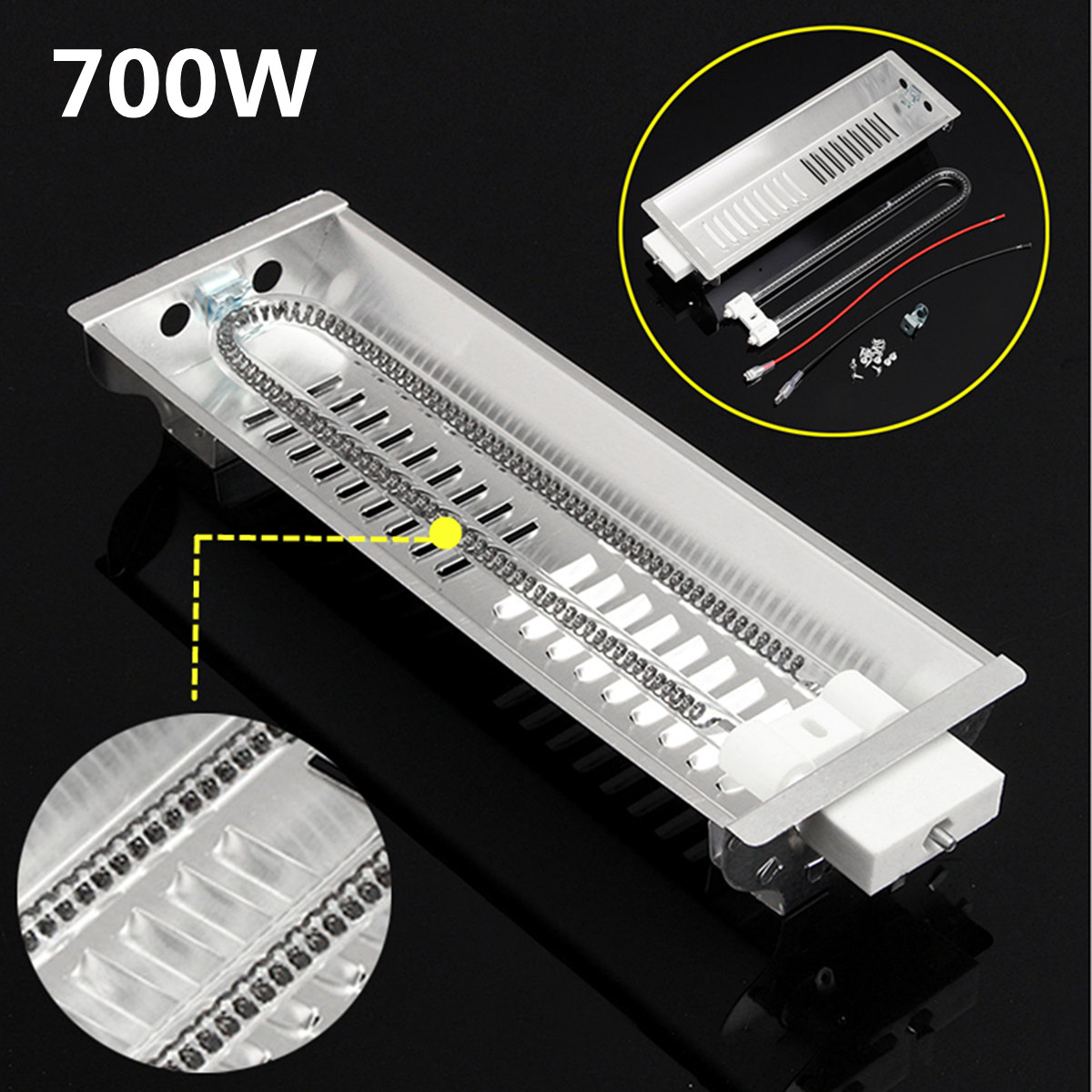 New 700W Far Infrared Double Carbon Fiber Heater Radiant Wave Paint Curing Heating Lamp For Baking Oven