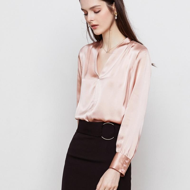 ผู้หญิงผ้าไหม 100% ผ้าไหมซาตินเสื้อผู้หญิง V คอเสื้อแขนยาว 2019 ฤดูใบไม้ผลิใหม่เสื้อสีชมพู-ใน เสื้อสตรีและเสื้อเชิ้ต จาก เสื้อผ้าสตรี บน   3