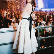Xnxee Women Dress Casual A Line Sexy Spaghetti Strap Backless Knee Length Bow Lady Party Vestidos 2019