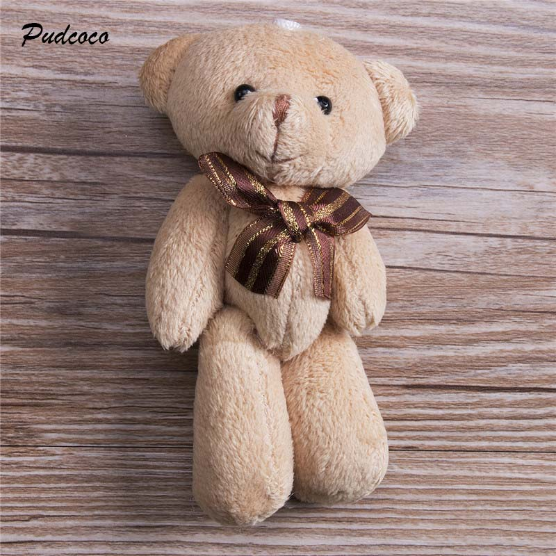 2019 Cute Soft Plush Stuffed Mini Brown Ribbon Teddy Bear Toys Kids Toy Doll For Bouquet 12cm DIY Gift For Girl Friend