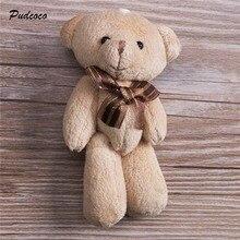 2019 lindo suave de la felpa de peluche Mini cinta marrón oso de peluche juguetes para niños muñeca de juguete ramo de 12 cm DIY regalo para chica amigo