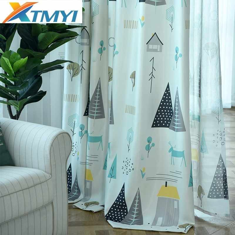 Cartoon Tree Printed Curtains for Bedroom Children Sheer Curtains Fabric for Window Living Room Drapes Decoration